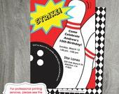 Bowling Party Invitation, Bowling Birthday,  Party Printable, Custom, Personalized, Bowling Ball, Strike, Bowling Pins, Digital File