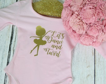 Let's Dance and Twirl ballet dance leotard  ballet dance outfit perfect for your little ballerina to wear to ballet class or a dance recital