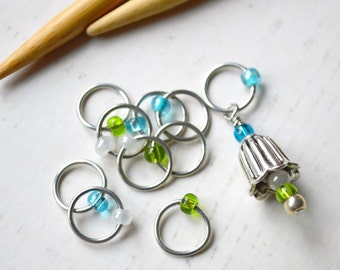 Bellflower / Knitting Stitch Marker Set / Snag Free / Small Medium Large Sizes Available