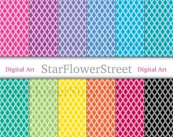Diamond Digital Paper geometric jewel trellis harlequin printable scrapbook paper digital background pink blue black