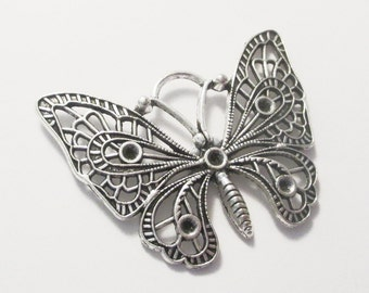 2 x Antique Silver Butterfly Charm Pendants 48x36mm, Can Hold Rhinestones