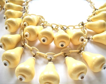 Rare Vintage Beach Jewelry 1930s Wood Necklace & Bracelet Set  Celluloid Chain, Brass, Chic Bathing Costume Accessories