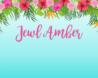 Hawaiian Themed Backdrop- .JPEG File via Email Delivery - You Print Your Own