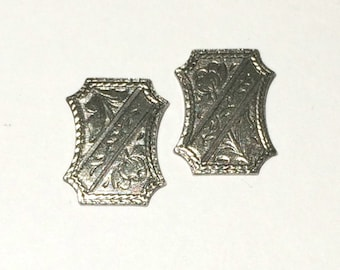 3 Rectangle Stamping, Cabochon, Antique Silver Ox, Fancy Stamping