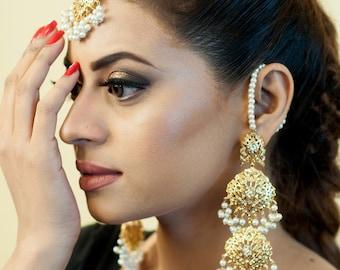Pearl sahara earrings with teeka (headpiece), light weight jewelry, gold plated earrings, teady to ship, long gold earrings
