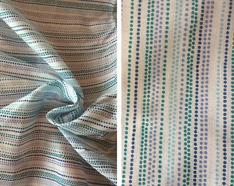 Fabric destash sale | Blue dotted striped cotton lawn by the yard