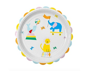 Silly Circus Large Plates - baby shower carnvial birthday dinner lunch