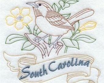 South Carolina State Bird Carolina Wren Redwork Embroidered Towel   Flour Sack Towel   Linen Towel   Dish Towel   Kitchen Towel   Embroidery