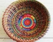 Rainbow Basket Pine Needle Basket Native American Art Gift For Her Gift For Teen Gift For Him Storage Basket Rainbow Trinket Basket