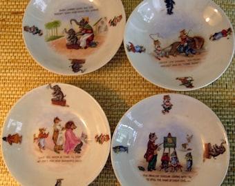 German Children's Fairytale White Porcelain Bowls, set of Four
