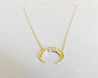 Gold horn necklace, horn necklace, gold necklace, layering necklace, double horn necklace, tusk necklace, moon necklace, boho necklace