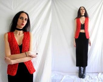 70's hippie red floral crochet waistcoat/top.