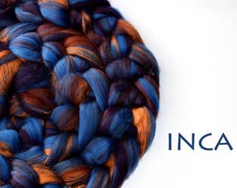 INCA - blended tops - Merino - Tussah silk - 100g/3.5oz - blue - copper