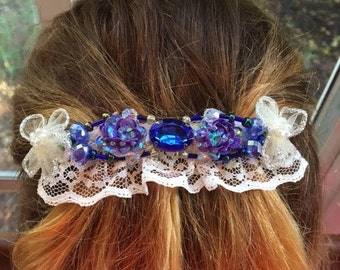 Handmade Barrette With Blue Beading,Sequins And Lace