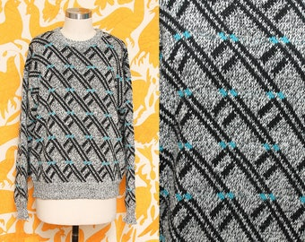 Gray Sweater // Acrylic Striped Sweater // 1980s Badge Grey Black Blue Cozy Hipster Knit Sweater Size Medium Large