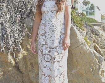 Vintage Sheer Crochet Lace Scallop Hippie Boho Runway WEDDING Maxi Dress