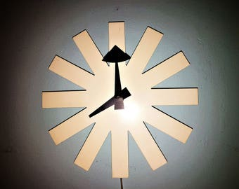 Iconic ASTERISK Clock by GEORGE NELSON for Howard Miller white with black hands Chronopak movement 1950s