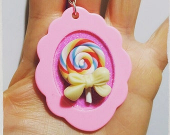 Sweet lollipop polymer clay necklace.