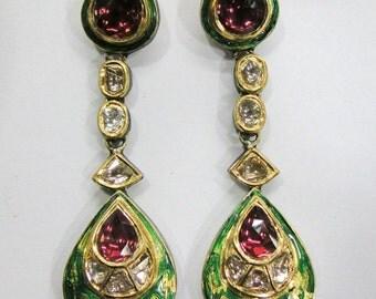Vintage antique solid 20K Gold jewelry Diamond & rhodolite earring pair