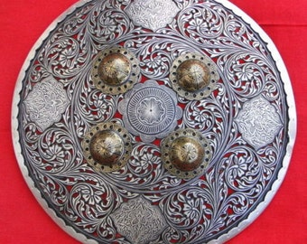 Traditional Silver & Gold Bidaree Work Shield Armour Rajasthan India
