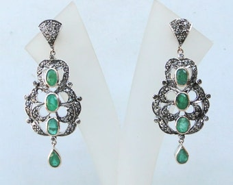 Victorian Diamond Emerald 14 Carat Gold Silver Stud Earring Pair India