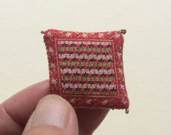 Doll's house pillow in fine petitpoint