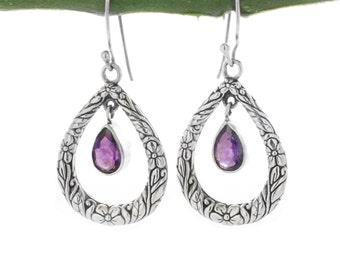 Filigree Amethyst Earrings, Drop Earrings. Silver Bali Earrings, Amethyst Earrings, gemstone earrings, February Birthstone, purple earrings