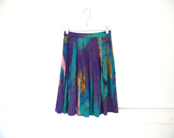 80s Multi Color Avante Garde ABSTRACT PRINT SKIRT High Waist // size small