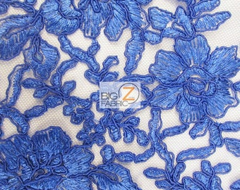 Destiny Floret Embroidery Lace Fabric - ROYAL BLUE - Sold By The Yard Prom Evening Dress Lace Decor Accessories Flowers