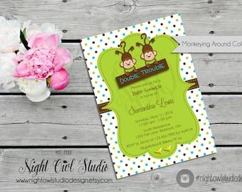 Twin Monkey Baby Shower Invitation, Monkey Baby Shower, Twin Boys, Monkey Party, Boy Monkey Invite
