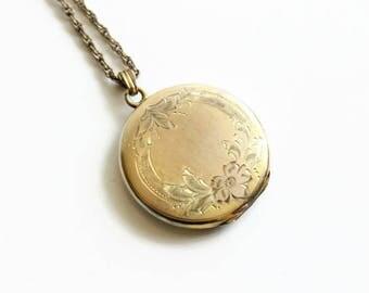 Vintage Gold Filled Round Locket Necklace, Floral Design,  Circa 1940's