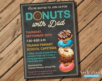 Donuts with Dad Invitation, Doughnuts with Dad Invitation, Donut Breakfast Invitation, Digital Printable Birthday Invitation