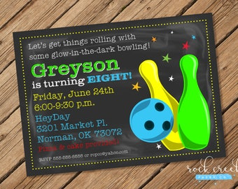 Cosmic Bowling Invitation, Galactic Bowling, Glow-in-the-dark bowling, Glow Bowling Party, Printable Birthday Party Invitation