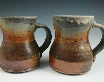 Two wood-fired mugs. Free shipping to the lower 48 States. #2.