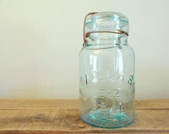 Vintage Aqua Atlas E-Z Seal Mason Canning Jar with Glass Lid and Wire Bail
