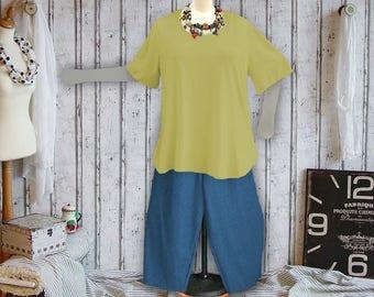 Plus sizes - US 18 - 34, UK 20 - 36, Shirt tail hem - WAVE style, jersey/cotton,grape