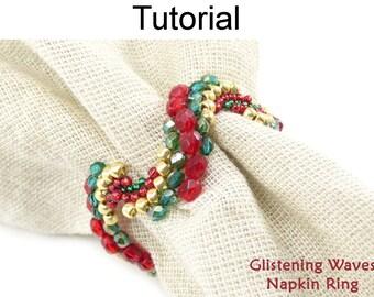 Beading Tutorial Pattern - Beaded Napkin Ring - Circular Peyote Stitch - Simple Bead Patterns - Glistening Waves Napkin Rings #21075