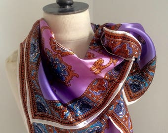 Vintage scarf , women's headscarf , purple color,abstract design .