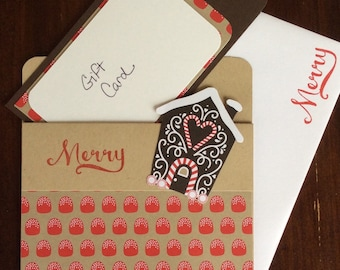 Christmas, Gift Card, Candy, Gingerbread House, Handmade, stampin up