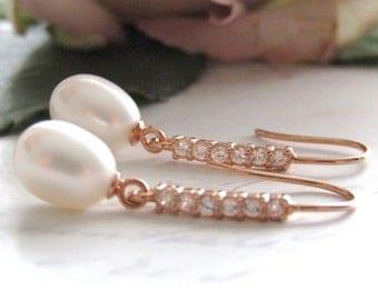 Rose Gold , Bridal Earrings, Freshwater Pearl Bridal Earrings, Bridal Jewellery, Teardrop Pearl Earrings, Wedding Jewelry, white CZ ,