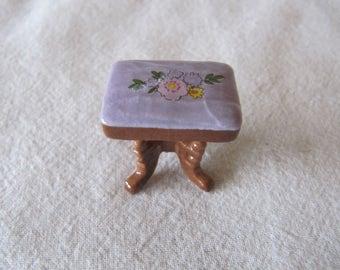 Vintage Miniature Dollhouse Stool Footstool Bench Ceramic Purple Brown Floral