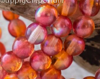 Red Orange AB 6mm Czech Druk, 4323, Red AB 6mm Smooth Round Druk Beads, 25 Beads