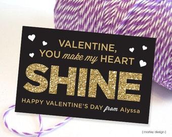 Valentines Card Kids Valentine's Day Card Kids Printable Valentines Valentines Gift Tags Valentines Favors Black Gold Glitter Classroom Card