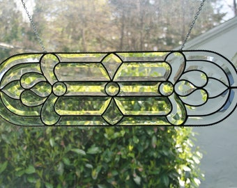 Stained Glass Beveled Window Ornament with Beaded Edge