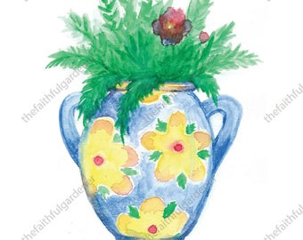 Blue Pot with Flower Pattern Watercolor Original Painting