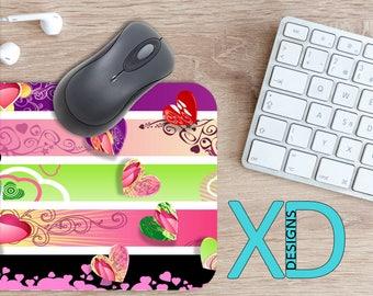 Fancy Mouse Pad, Fancy Mousepad, Girly Rectangle Mouse Pad, Multicolor, Girly Circle Mouse Pad, Fancy Mat, Computer, Panel, Heart, Embellish