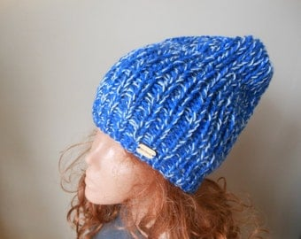 Hand Knit Slouchy Beanie Hat Acrylic  Blue Navy Blue blend