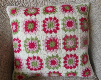 Crochet Pillow, Granny Square Cover Pillow, Decorative Pillow, White Pink Green Handmade Home Decor 18x18