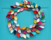 "Colorful and Modern Felt Leaf Wreath - Year Round Wreath - Rainbow Leaf Wreath - Boho Decor - 15-16"" size"