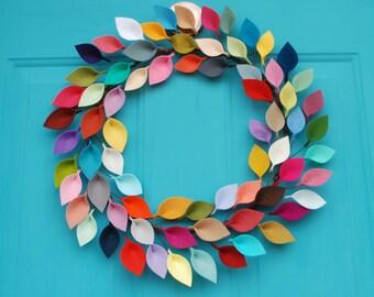 "Colorful and Modern Felt Leaf Wreath - Everyday Wreath - Rainbow Leaf Wreath - Boho Decor - 15-16"" size"
